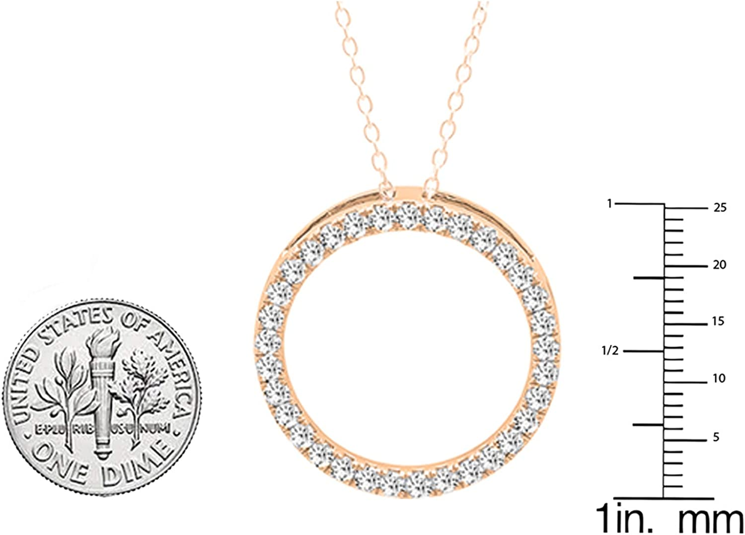 Gold Chain Included 14K Gold Dazzlingrock Collection DGLA Certified Round White Diamond Circle Pendant