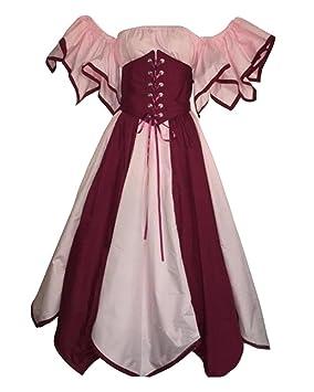 GladiolusA Mujer Disfraz De Cosplay Vestido Medieval Ropa Renacentista Vendimia Pink 3XL