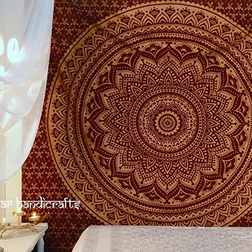 Popular Handicrafts New Launched Kp721 Original Gold Ombre Tapestry Mandala Tapestries Wall Art Hippie Wall Hanging Bohemian Bedspread with Metallic Shine Tapestries 84x90 Inches(215x230cms) Maroon