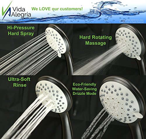 Vida Alegría H5+ Handheld Shower Head; with Steel Hose, Holder, 5 Sprays; 2.5 gpm (Oil Rubbed Bronze)
