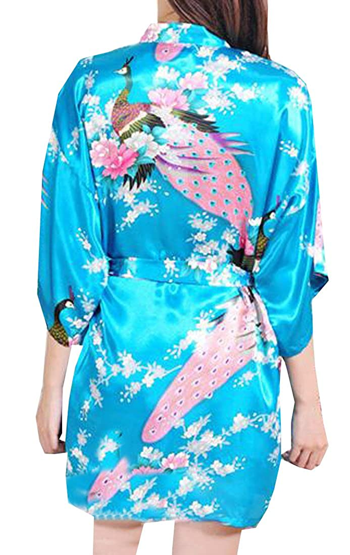 KXP Women s Sexy Peacock Printing Short Sleeve Kimono Silk Robe Lake Blue S  at Amazon Women s Clothing store  be59243d0