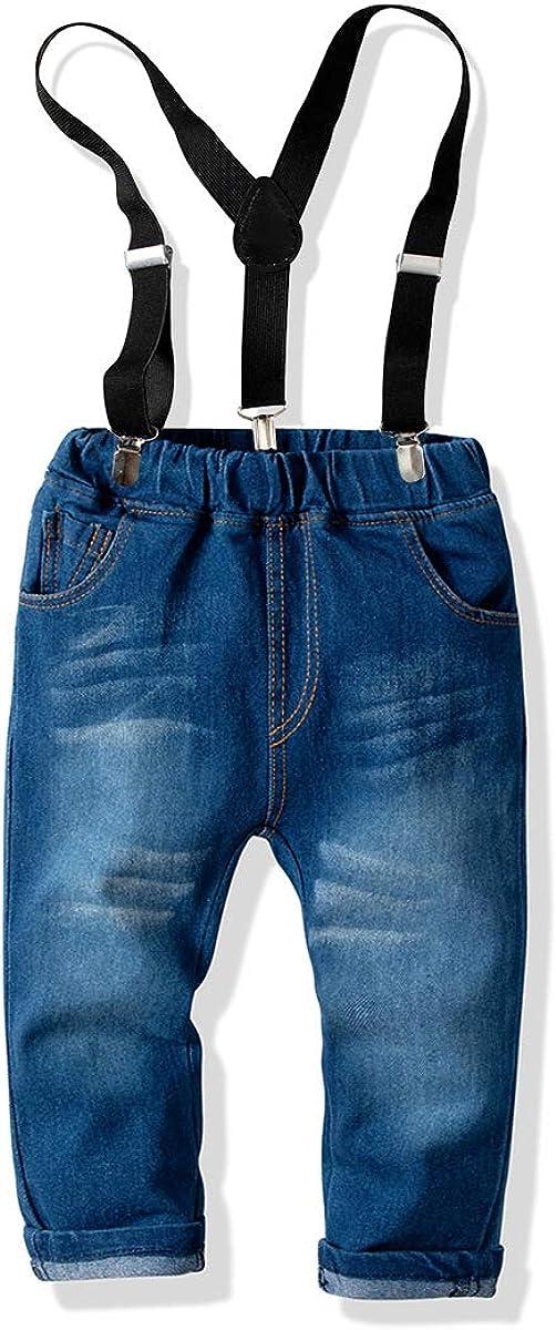 per 6 Mesi Vestiti per Feste Completo per Bambini con Camicia Blu 6 Anni DaMohony Battesimi Matrimoni Pantaloni Jeans Lunghi con Bretelle per Neonati