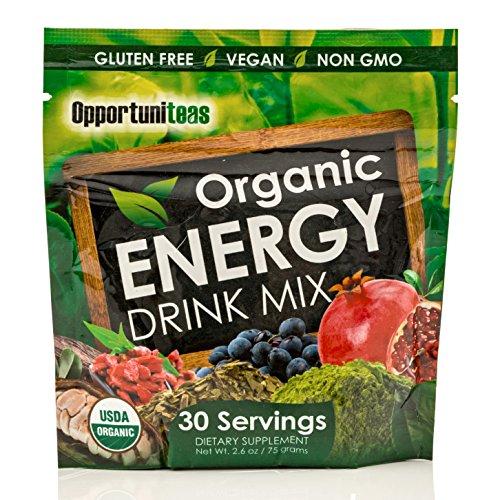 Mélange à boisson énergie biologique | Thé vert Matcha + maté + Cacao + baie de Goji + Grenade + Maqui Berry | Poudre de caféine naturelle supplément pré-entraînement | Sans gluten, végétalien + Non OGM
