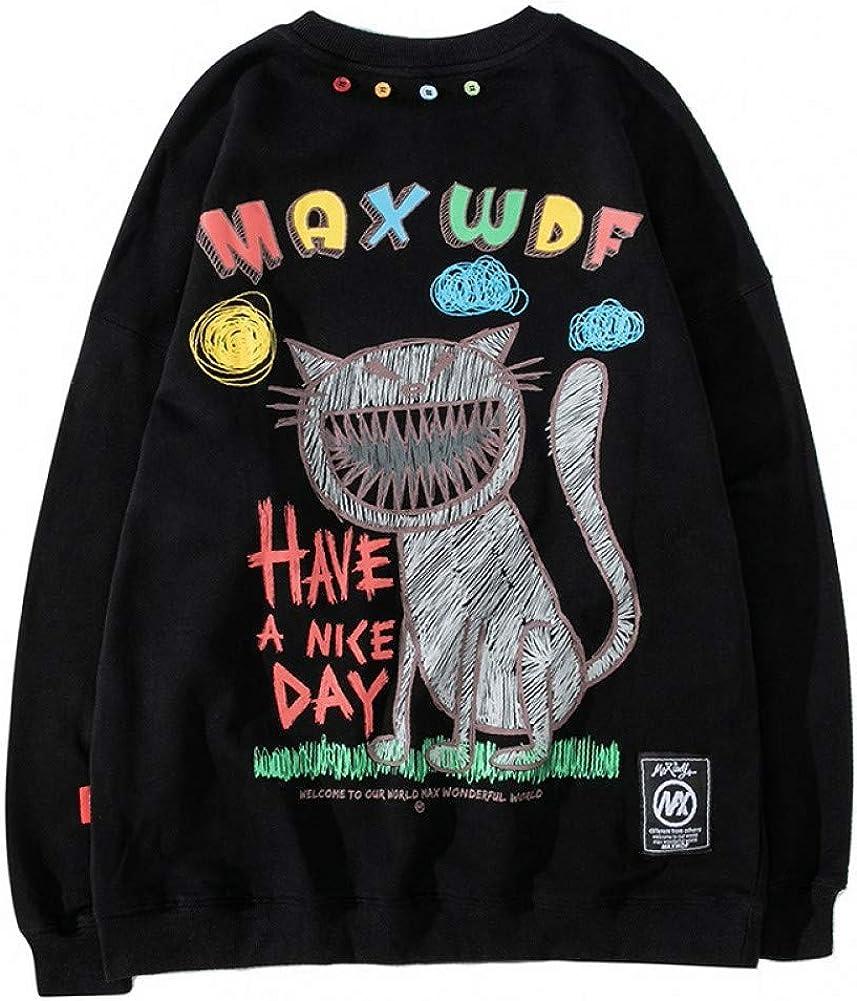 SONGHJ Streetwear Pullover Herren Cat Print Sweatshirt Baumwolle Lässig Fallen Lose Sweatshirt Übergroß 3xl