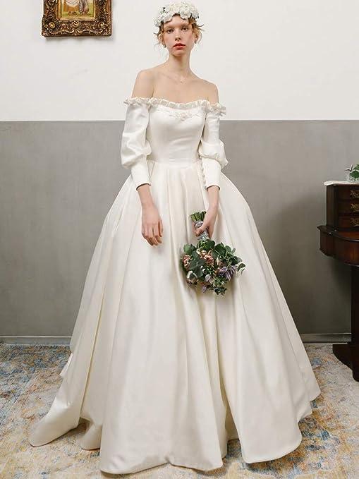 outlet store 343da 8d670 WJZ Abito da Sposa da Sposa Lungo A Maniche Lunghe in Raso ...