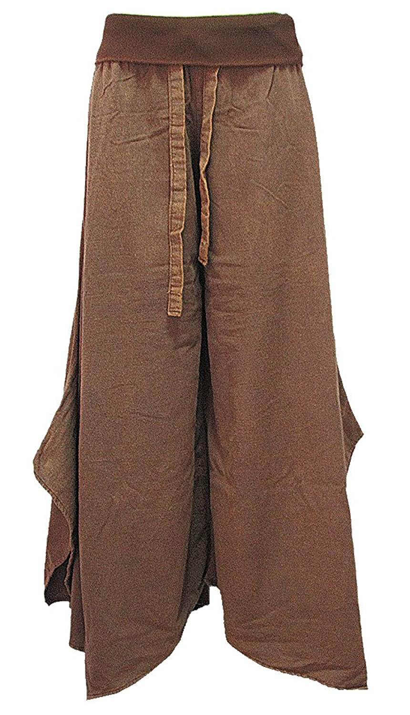 Women's Wide Leg Fold Waist Gaucho Long Pants