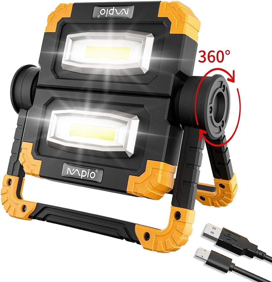 MPIO Super Hell 2000 LM 20W USB Wiederaufladbares Flutlicht mit 2 COB-Lichtern,360 /° Drehung,Wasserdicht,3 Lichtmodi Baustrahler Arbeitslicht f/ür Camping//Baustelle//Garage//Wandern LED Arbeitsleuchte