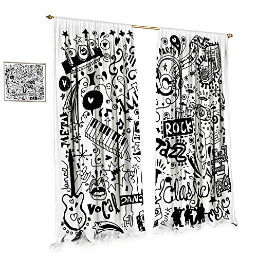 cobeDecor Doodle Window Curtain Drape Music Collection with an Abstract Drawing Rock Jazz Blues Metal Classic Dancing Decorative Curtains for Living Room W96 x L84 Black White