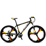 VTSP X3 MTB Mountain Bikes For Man 26x17 Inch Aluminum Alloy Frame Fork Suspension 21 Speed 3-Knife Double Disc Brake Bicycle New Year Special Promotion Ships From US Warehouse (yellow)