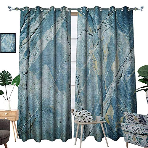 (Warm Family Marble Thermal Insulating Blackout Curtain Exquisite Granite Stone Architecture Floor Artistic Nature Faded Rock Picture Patterned Drape for Glass Door W72 x L108 Pale Blue Grey)