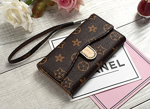 HeiL iPhoneX/XS Monogram L (US Deliver Guarantee Fulfilled by Amazon) New Elegant Luxury PU Leather Wallet Style Flip Cover Case for Apple iPhone X iPhone Xs (Brown L)