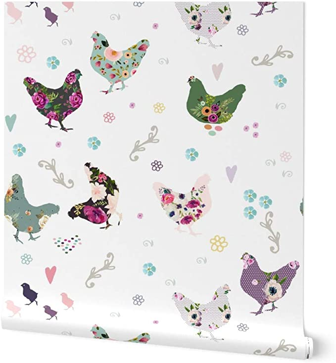 Peel-and-Stick Removable Wallpaper Victorian Vintage Chicken Birds Antique