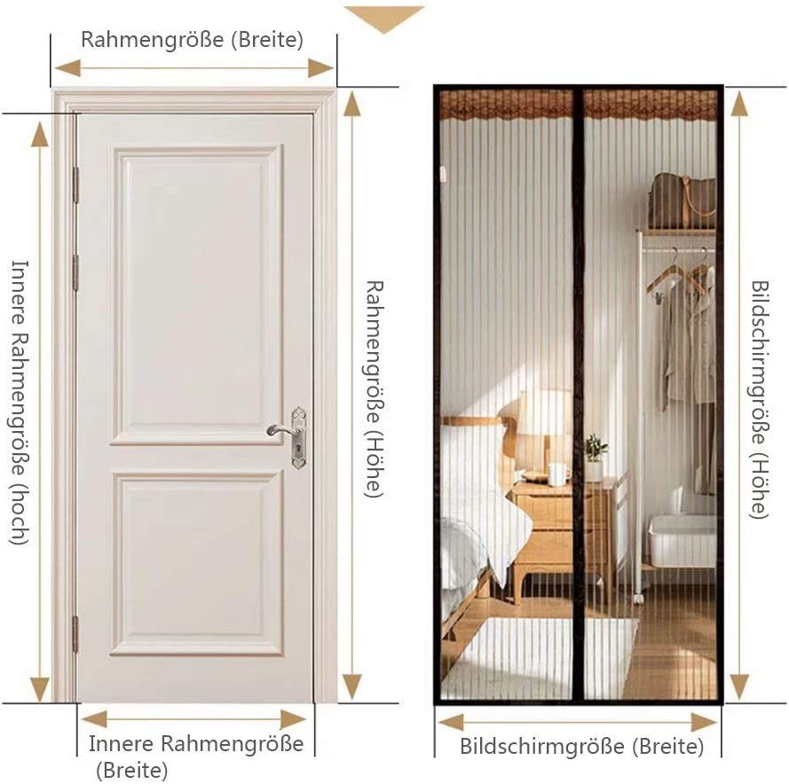 YANKAN Mosquitera magnética para Puerta, Puertas y Patios, Braun B, 100cm x210cm: Amazon.es: Hogar