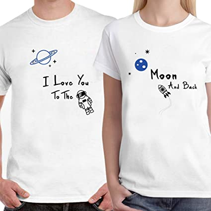 40d712d08a Buy DreamBag Couple T-Shirt - I Love You to The Moon & Back Unisex ...
