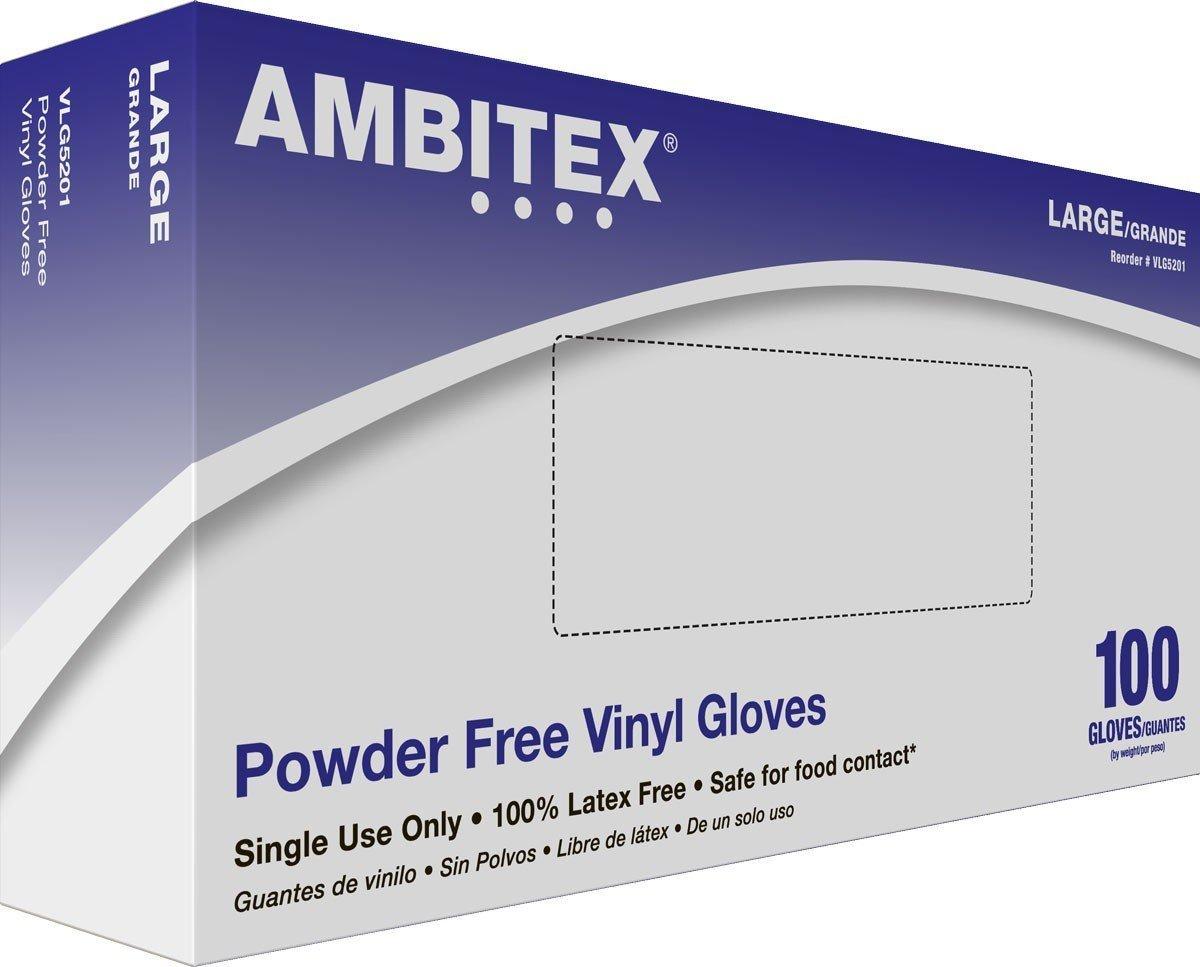 Ambitex Vinyl Powder-Free Exam Gloves Large Case (1000 Gloves)