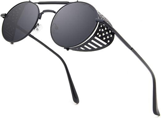 RONSOU Steampunk Vintage Round Polarized Sunglasses for Men Women Lennon Style Eyewear