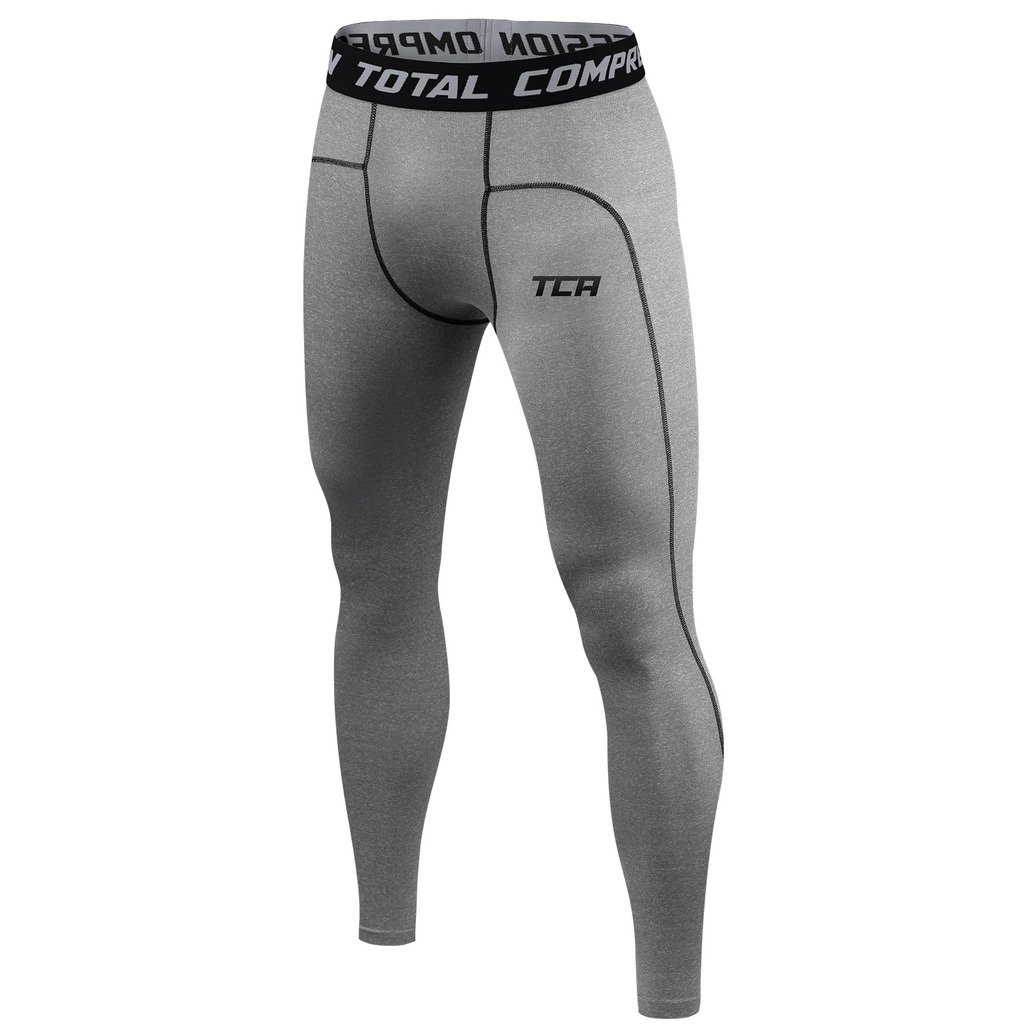TCA Men's Boys Pro Performance Compression Base Layer Thermal Tights/Leggings - Dark Carbon XL by TCA