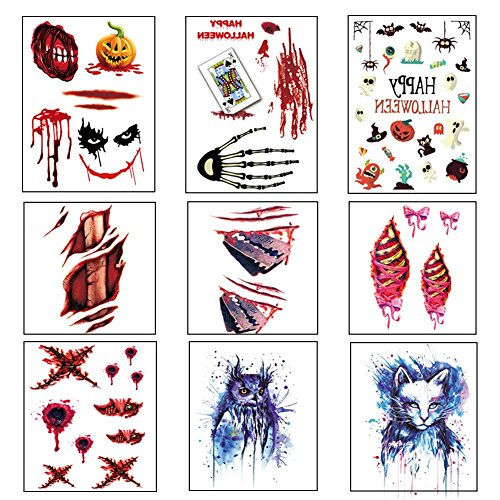 Halloween Scar Tattoo Temporary Stickers for Cosplay Partys or Halloween Zombie Tattoos Family Mega Pack Set of 9 (Halloween Vegetable Skeleton)