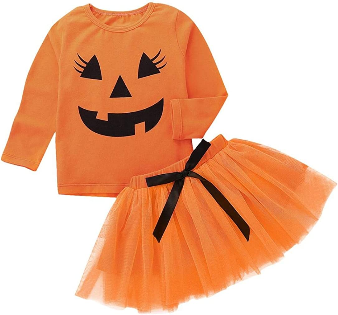 Baby Girl Halloween Costumes Pumpkin Smiles Short Sleeve Bodysuit Tutu Skirt Bowknot Dress Outfits Memela Baby Clothes