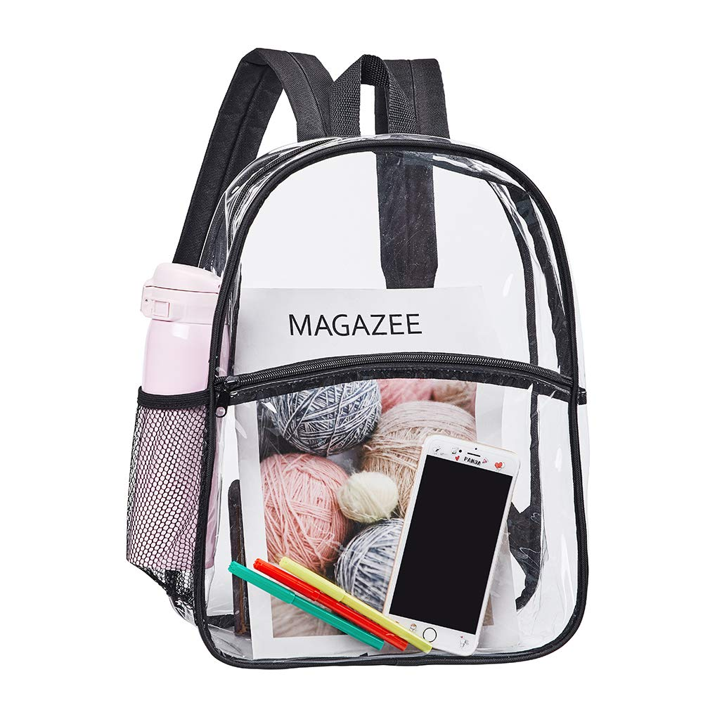 Heavy Duty Clear Backpack, Transparent PVC School Mini Backpacks, See Through Outdoor Bag for Kids, Security, Sports Events(Black)