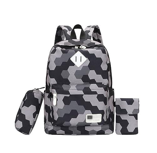 YoungSoul Bolsos mochila para Juveniles - Bolsas escolares de lona + Estuches + Bolso de teléfono móvil - Mochilas escolar grande Gris: Amazon.es: Zapatos y ...