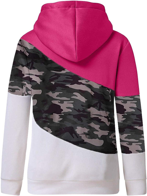 Sweatshirts for Women Plus Size,Casual Cowl Neck Pullover Hoodie Contrast Long Sleeve Hoodie Sweatshirt Tops