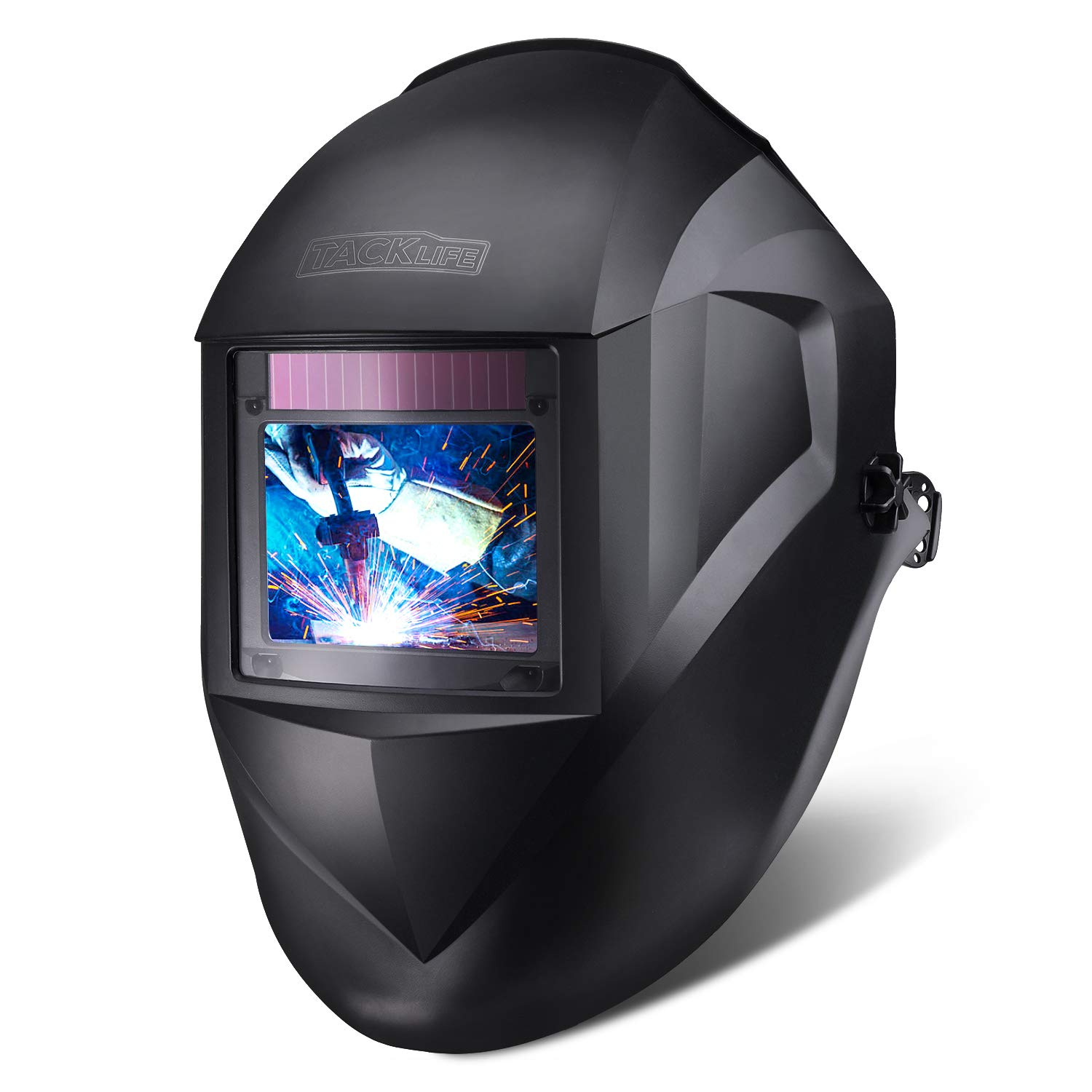 """TACKLIFE Welding Helmet, Large Viewing Area(3.94""""x2.87""""), Top Optical Clarity (1/1/1/1), Wide Shade Range DIN 3/3-8/9-13, Solar Power Auto"""