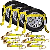 Vulcan Classic Yellow Flat Bed Side Rail Auto Tie Down with Chain Anchors (Pack of 4) Safe Working Load - 3300 lbs.