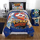 Franco Manufacturing Yokai Watch Watch This Reversible Twin/Full Bedding Comforter, 3 pc Twin Sheet Set and Throw
