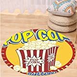 VROSELV Custom carpet1950s Decor Collection Vintage Style Pop Corn Commercial Print Old Fashioned Cinema Movie Film Snack Artsy Work Bedroom Living Room Dorm Multi Round 72 inches