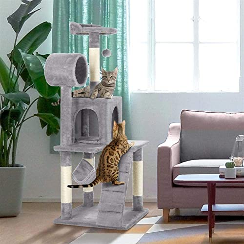Topeakmart 51in Height Cat Tree Condo Multi-Level Cat Towers House Furniture with Hammock and Scratching Post