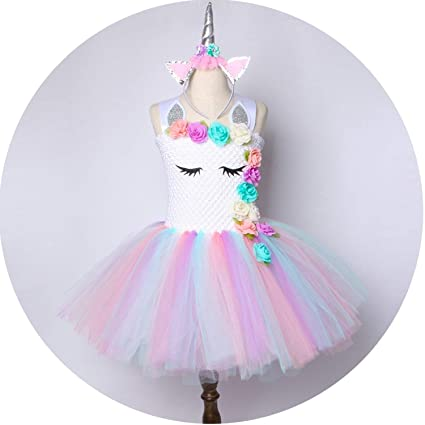 7cd86433fb Image Unavailable. Image not available for. Color: Flower Girls Dress  Pastel Rainbow Princess ...