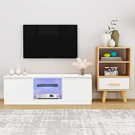 SSLine Modern White TV Stand with LED Light Wood Television Stand Media  Storage Console Cabinet with Drawer and Shelves Entertainment Center Living  ...