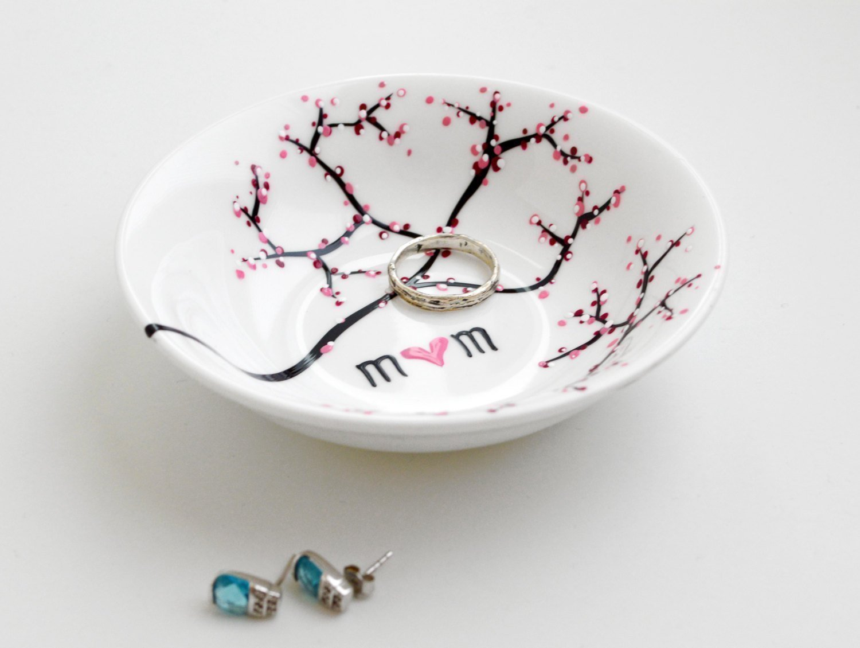 Ring Dish, Cherry Blossom Branch Jewelry Bowl, Personalized Gift For Mom, Personalized Jewelry Bowl