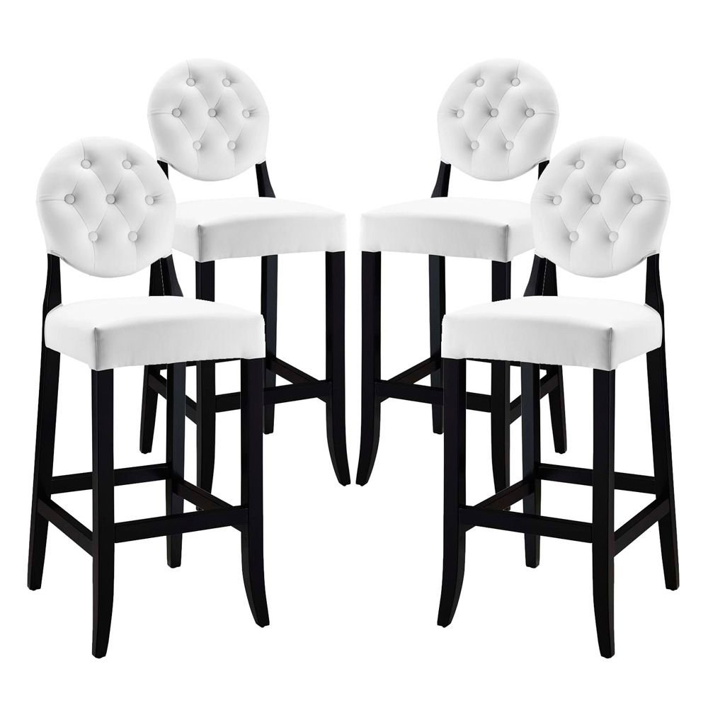 Bar Stool Set of 4 White Dimensions: 23.5''W x 17''D x 47''H Weight: 90 lbs