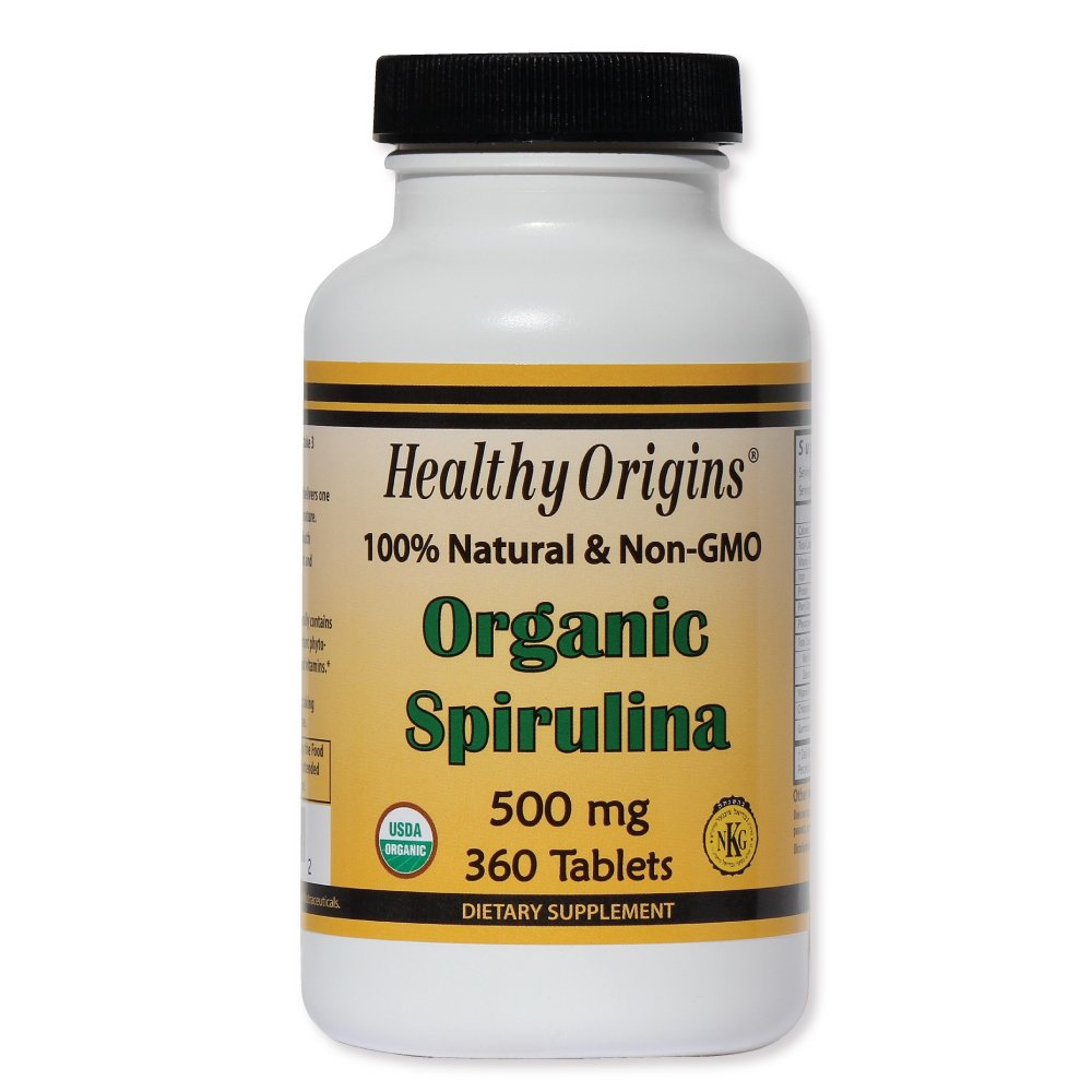 Healthy Orgins Organic and Kosher Spirulina Tablets, 500 mg, 360 count (Pack of 12)