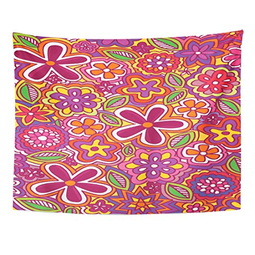 TOMPOP Tapestry Blue Abstract Flower Power Doodle Colorful
