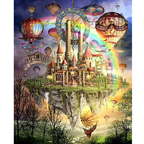 Clearance Arts Rakkiss 5D DIY Floating Castle Rainbow Hot Air Balloon Magic Dream Embroidery Square Diamond Drawing Round Drill Home Decor Gift 3040CM for $<!--$5.00-->