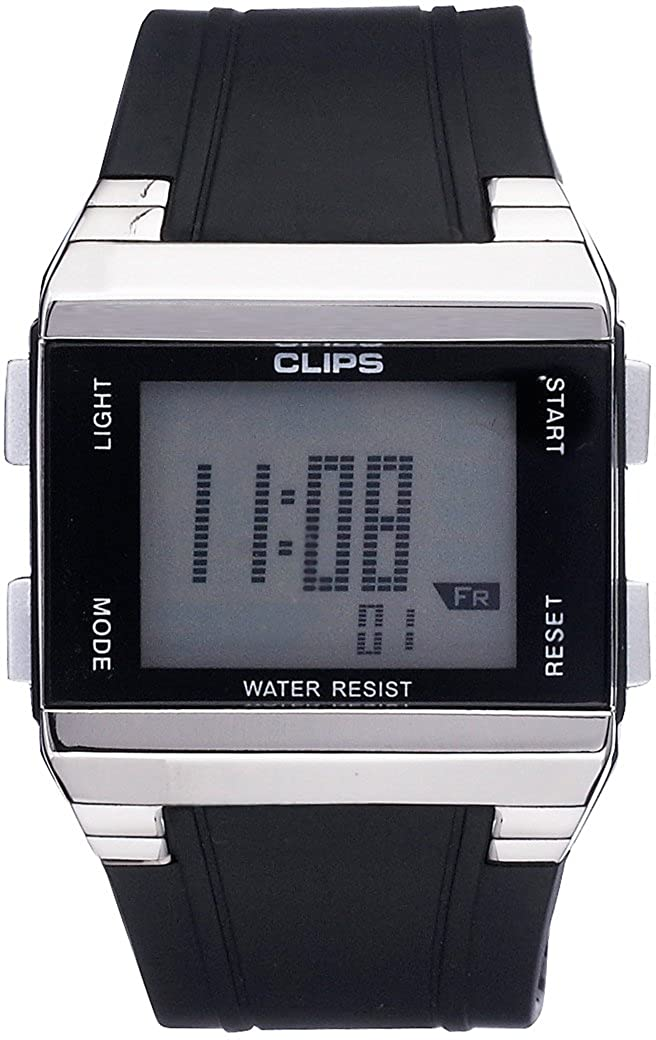 Clips 539-6003-44 - Reloj de Pulsera Hombre, Caucho, Color Negro
