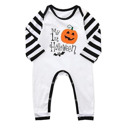 89d4c2463d50 FimKaul Baby Girl Boy Halloween Stripe Romper Pumpkin Jumpsuit Long Sleeve  Outfit My 1st Halloween(