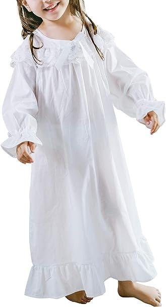 Nightgowns for Girls Long Vintage Soft Cotton Kid Sleepwear Nighties Full Length Nightdress for Kids 3-12 Years