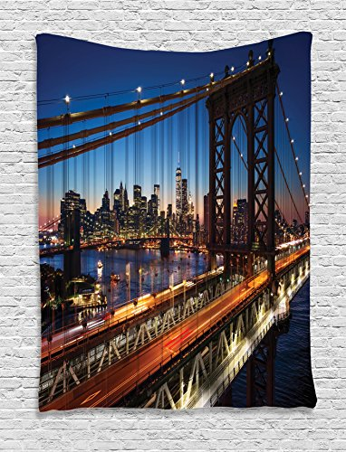 Ambesonne NYC Decor Collection, Sunset At Brooklyn Bridge River Large Modern Famous Tourism Touristic Attractions , Bedroom Living Room Dorm Wall Hanging Tapestry, Navy Brown - Nyc 45th 5th And