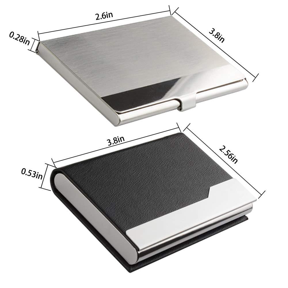 24e037d34d68 KISSWILL Business Card Holder Case, 3 Pack Black Leather Business Card Case  and Slim Name Card Holder for Men & Women