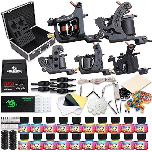 Dragonhawk Complete Tattoo Kit 5 Dragonhawk Mate Tattoo Machine Gun 20 Immortal Tattoo Inks Power Supply 50 Needles Grips Tips with Case 5-1 by Dragon Hawk