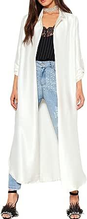 HaoDuoYi Women's Satin Open Front Side Split Long Sleeve Office Midi Shirtcoat