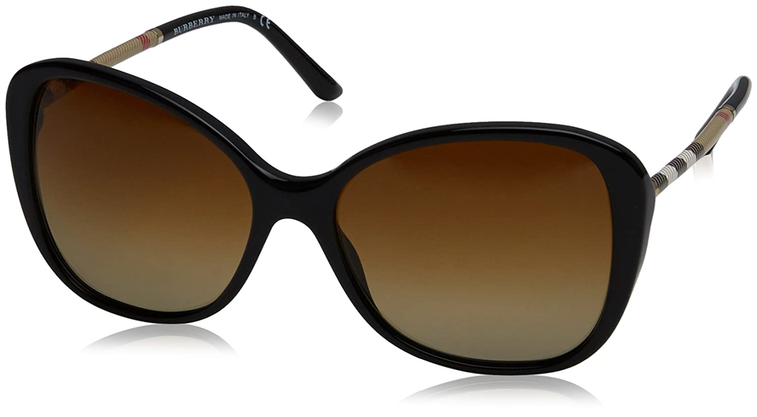 f75be99e6cd0 Amazon.com  Burberry BE4235Q 3001T5 Black BE4235Q Butterfly Sunglasses  Polarised Lens Categ  Burberry  Clothing