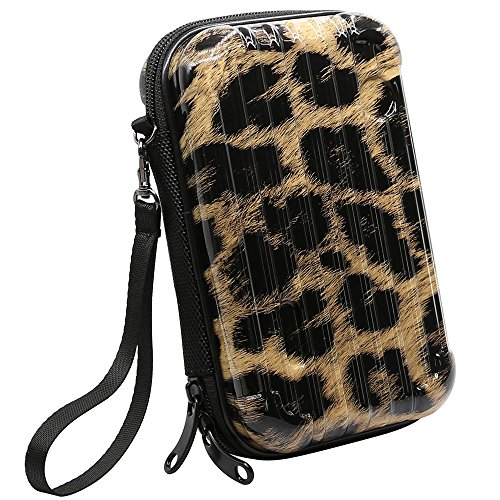 Shockproof Carrying Case, Jelanry Protective Storage Power Bank Pouch Water Resistant Hard Case Mini Luggage Design Wallet Bag for Portable External Hard Drive GPS Camera USB Cables Earphone Leopard