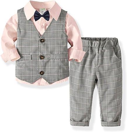 Weentop Niños Niños Conjuntos de Ropa Camisa Gris y Chaleco Pantalones Traje Trajes de Caballero para niños de 2 a 5 años Little Boy (Color : Rosado, tamaño : 80): Amazon.es: Hogar