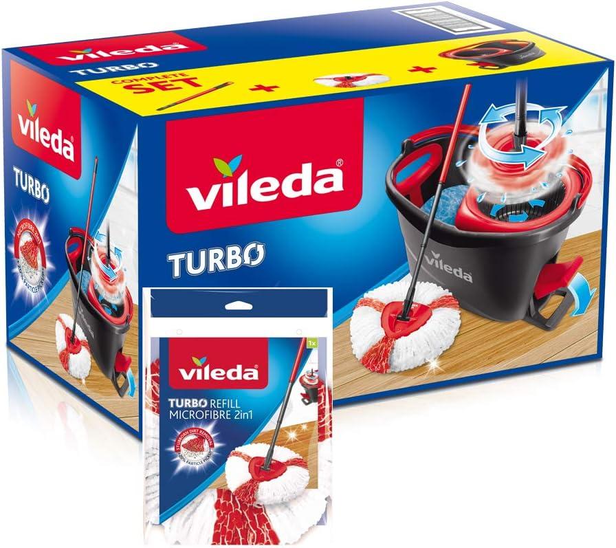 Vileda Turbo - Juego de fregona con palo telescópico + cubo escurridor giratorio + recambio de microfibras, color negro y rojo, 48.6 x 29.6 x 29.3 cm