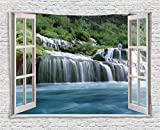 Ambesonne House Decor Tapestry, Majestic Waterfall Landscape Through A Window Imaginary Secret Paradise at Home Decor, Wall Hanging for Bedroom Living Room Dorm, 80 W X 60 L inches, Blue and Green